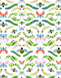A cute illustration of insects Motifs Textiles, Textile Patterns, Pattern Paper, Pattern Art, Nature Pattern, Caterpillar Art, Backgrounds Wallpapers, Pretty Patterns, Pattern Illustration