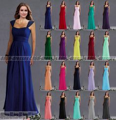 New Long Chiffon Formal Evening Ball Gown Party Prom Bridesmaid Dress Size 6-18