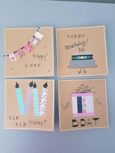 bookmarks washi tape Dit item is niet beschikbaar Creative Birthday Cards, Simple Birthday Cards, Birthday Cards For Him, Handmade Birthday Cards, Diy Birthday, Birthday Card Drawing, Tarjetas Diy, Washi Tape Cards, Kids Cards