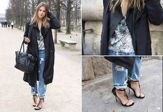 Experiment with length and silhouette like Sabrina M wearing a long Diesel Jacket over boyfriend jeans #SuccessfullyStyled www.diesel.com/female
