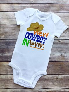 BODYSUITS are white, short-sleeved, made of comfortable cotton and have 3 snaps for easy diaper changing. Sizes: & TOT TEES are white, short-sleeved, made of comfortable cotton. Sizes: & Thanks for browsing! All orders are mailed out USPS Standard First Cowboy Baby Clothes, Newborn Boy Clothes, Cow Baby Showers, Baby Shower Gifts, Western Babies, Organic Baby Clothes, Baby Bodysuit, Future Baby, Onesies