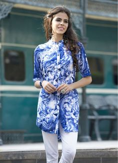 Opulent Blue Abstract Print Rayon Cotton Fancy Tunic