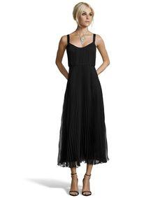 JILL Jill Stuart : black silk chiffon tea length gown : style # 352708801