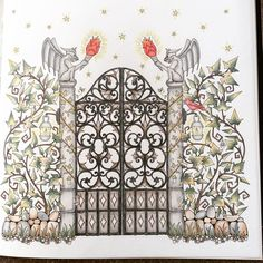 Gate Enchanted Forest Vintage Greeting CardsPencil ArtColoring BookAdult ColoringJohanna BasfordDrawing