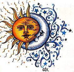sun moon & stars tattoos