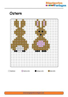 Easter Bunny Perler Bead Pattern - Easter bunny perler bead patternThe Effective Pictures We Offer You About b Bead Embroidery Patterns, Bead Embroidery Jewelry, Beaded Embroidery, Beading Patterns, Perler Patterns, Quilt Patterns, Christmas Perler Beads, Native Beadwork, Burlap Crafts
