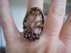 Tree of Life Ring Green Grossular Garnet Wire by OurFrontYard, $33.77