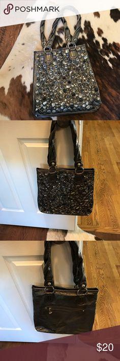 Kathy Van Zeeland pewter purse with stones Blinged out Kathy Van Zeeland purse with shimmery stones in front. Used only once. Very well kept. Kathy Van Zeeland Bags