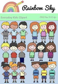 Everyday Kids Clipart - Set for Teachers Rainbow Sky, Task Cards, Different Styles, Teaching Resources, Boys, Girls, Worksheets, Originals, Crisp