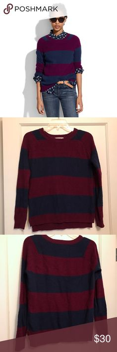 Madewell leafstitch crewneck sweater Super soft awesome striped sweater. It's a navy and purple stripes. I only washed this on gentle (cold water) and air dried it. No trades! I'm selling to downsize. Madewell Sweaters Crew & Scoop Necks