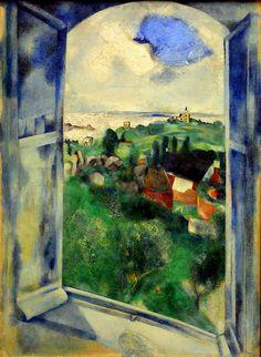 Marc Chagall - La fenetre sur l'll de Brehat, 1924 at Kunsthaus Zürich - Zurich Switzerland #Jewish #art #marc-chagall #marcchagall #MarcChagall #chagall