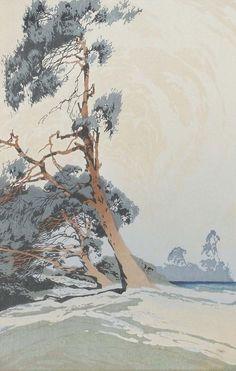 ✨ Oscar Droege (1898-1983) - Bäume , Farb-Holzschnitt, 27 x 23 cm ::: Trees, Colour Woodcut