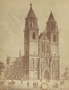 CABINET PHOTO CATHEDRAL BREMEN GERMANY ART PRINT ALBUMMEN PRINT 1880'S