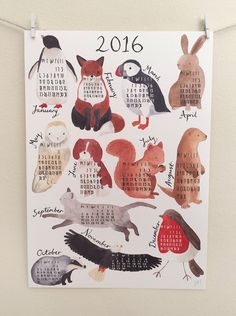 2016 'At a Glance' Animal Calendar