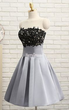 Gray A Line Strapless Satin Knee-length Beading Appliques Lace Homecoming Dress