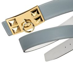 Hermes linen blue and white calfskin strap with Collier de Chien buckle