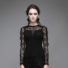 Devil Fashion Gothic Women Long Lace Sleeves T-Shirts Steampunk Dark Black Sexy Hollow Out Top Female Silk Tees in Spring Autumn