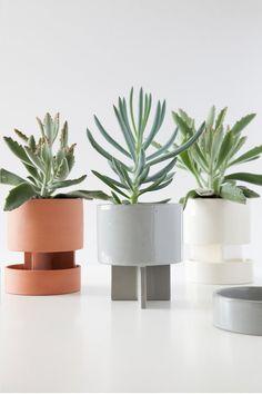 Planter + Tray  White - terra cotta - blue ash Ceramic planter - ceramic tray - sculptural form - modern planter - glazed ceramic - tabletop planter
