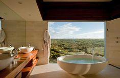20 Hotel Bathrooms with Amazing Views Southern Ocean Lodge Where: Kangaroo Islan… - Modern Open Bathroom, Bathroom Floor Plans, Bathroom Flooring, Most Luxurious Hotels, Best Hotels, Luz Natural, Lustre Grande, Limestone Flooring, Luxury Bathrooms