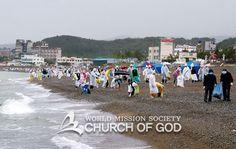 울산 하나님의교회(안상홍님) 해변환경정화 깨끗한 해변에서 즐거운 휴가 보내세요