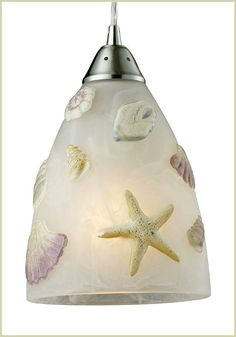 Awesome Beachy Shell Starfish Light Pendant (http://beachblissliving.com/beach-lamps-and-pendant-lights/)... and other lamps that are perfect for Beach Bliss Living.