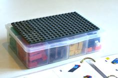 Lego Travel Box, complete with building instructions to give kids some building ideas.