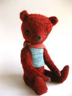 red mohair bear ///featured in Martha Stewart Living///
