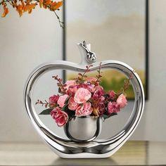 Electroplating Ceramic Vase with Flowers Ornaments Crafts Artwork Den Table  Decorations Unique Gift for Valentine