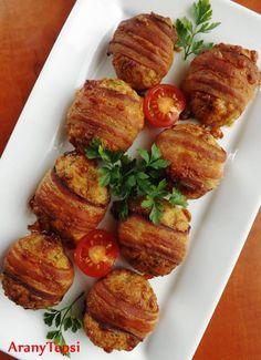 AranyTepsi: Sajtos fasírtgolyók baconbe tekerve Gluten Free Menu, Hungarian Recipes, Meatloaf, Baked Potato, Chicken Recipes, Bacon, Food And Drink, Low Carb, Yummy Food