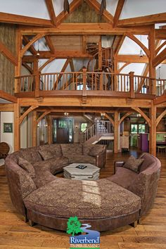 Great Room I Missouri Timber Frame Home I Riverbend Timber Framing