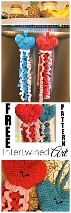 Free Crochet Pattern! Crochet Heart Tiny Tots Hand Towel #IntertwinedArt