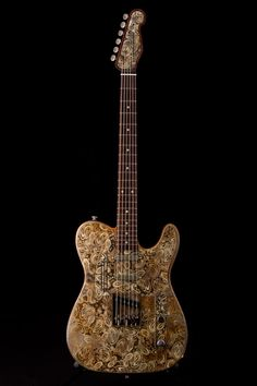 Trussart Deluxe Steelcaster - rust on cream paisley with b-bender