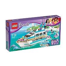 Lego Friends - Le Yacht - 41015  - marque : Lego Navigue sur l'océan en toute liberté sur le yacht avec Mia, Maya et Andrew. Pilote le yacht avec Andrew et emmène les filles faire le tour de l'île ! Elance-toi sur le toboggan... prix : 69.99 €  chez Toys R us #Lego #ToysRus