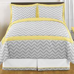 Zig Zag Yellow and Gray 3 Piece Full/Queen Bedding by Sweet Jojo Designs