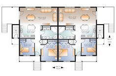 First Floor Plan of Country   Multi-Family Plan 65546