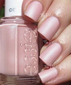 Just Stitched is a baby pink base with blue shimmer. - Essie Cashmere Matte Collection Swatches & Review