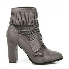 Dámské boty na podpatku Klenbery šedé – šedá Jste žena s jedinečným kusem   Semišový svršek 28bff65bc6