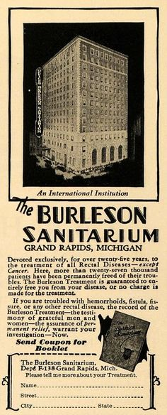 The Burleson Sanitarium, located on the 12th floor of the Morton House Hotel - 1929.