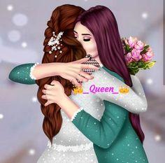 Jia nd achaan Beautiful Girl Drawing, Cute Girl Drawing, Beautiful Anime Girl, Best Friend Drawings, Girly Drawings, Lovely Girl Image, Cute Girl Pic, Sarra Art, Mother Daughter Art