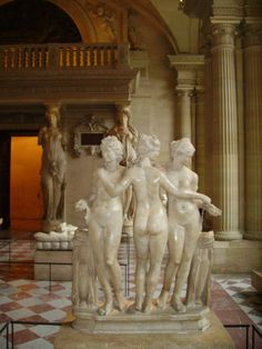 The Muses, the personification of knowledge and the arts, especially literature, dance and music, are the nine daughters of Zeus and Mnemosyne (memory personified). .....  [source: Wikipedia] art: The Three Graces (muses) at the Louvre, Paris