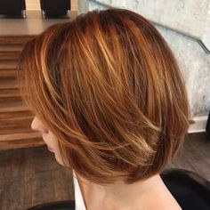 copper red bob with blonde babylights