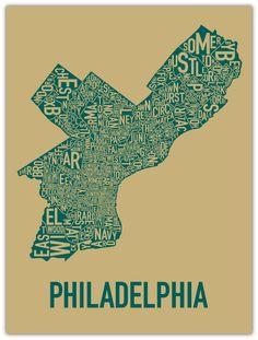 screen print of philly neighborhood poster map art