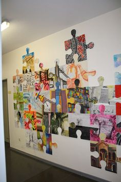 puzzle art installation & collaborative project germany tim kelly artist world-w. puzzle art installation & collaborative project germany tim kelly artist world-w. Club D'art, Art Club, Middle School Art, Art School, School Murals, Decoration Creche, Group Art Projects, Collaborative Art Projects For Kids, Collaborative Mural