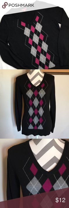 Black V Neck Argyle Sweater Soft sweater. Size medium. Black with gray and purple argyle print. More of a fitted sweater. Bust: 36 in. Length: 25 in. Sleeve length: 25 in. Merona Sweaters V-Necks