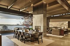 Family History Gets New Perspective In A Seattle Home - Luxe Interiors + Design Contemporary Interior Design, Modern House Design, Best Interior, Room Interior, Two Sided Fireplace, Seattle Homes, Living Room Modern, Great Rooms, New Homes