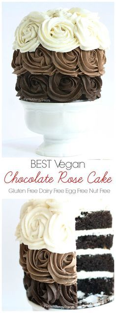 Best Gluten Free Chocolate Cake recipe (gluten free vegan)-Gluten Free Chocolate Cake recipe (vegan)- Gorgeous dairy free roses adorn this decadent chocolate cake. Food allergy friendly- egg free soy free nut free I'M SO EXCITED ABOUT THIS CAKE! Best Vegan Chocolate, Gluten Free Chocolate Cake, Decadent Chocolate Cake, Chocolate Chocolate, Beautiful Chocolate Cake, Chocolate Roses, Chocolate Desserts, Vegan Treats, Vegan Foods
