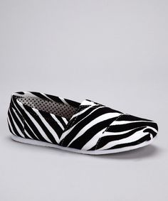 Take a look at this Black Zebra Slip-On Shoe on zulily today!