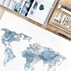 Good objects - Where next? ✈️ Originals and prints of the Indigo world will be available soon. Picture by me, trying to make my teacher ( @iarasnei ) proud #goodobjects #watercolor #worldmap #illustration