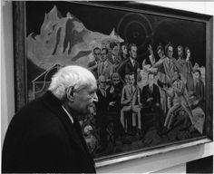 Giuseppe Ungaretti a Parigi, davanti al quadro di Max Ernst, Au rendez-vous des amis (oggi al Museum Ludwig di Köln). Foto di Pablo Volta del 1956.