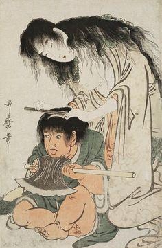 "thekimonogallery: ""Yamauba Shaving Kintaro's Head. Woodblock print, about 1800, Japan, by artist Utagawa Utamaro I. """